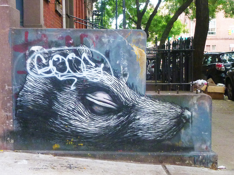 This Roa rat head painting on East 2nd Street has remained in remarkably good condition.