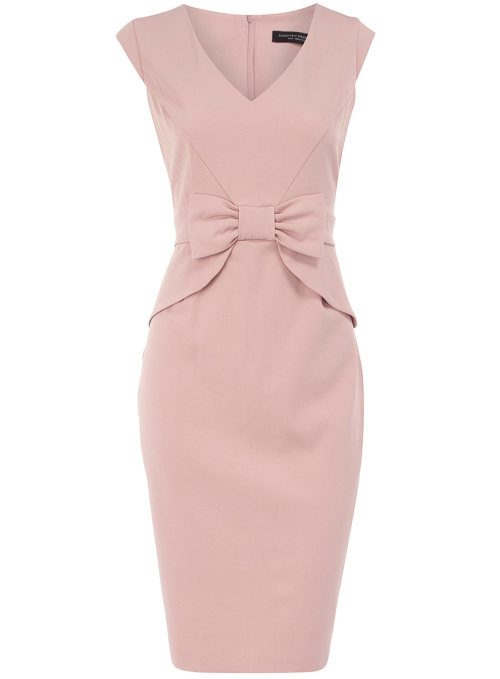 Rose Peplum Bow Dress by Dorothy PerkinsRose structured pencil dress with bow and peplums on waist 109cms. 95% Polyester,5% Elastane. Machine washable.