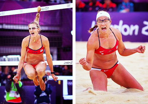 Kerri Walsh Jennings and Misty May-Treanor celebrate during the Women's Beach Volleyball Semi Final match between the USA and China at the London 2012 Olympic Games on August 7, 2012 in London, England. only event in the Olympics that I sit on the edge of my seat for. these ladies are fucking genius/insane/perfect