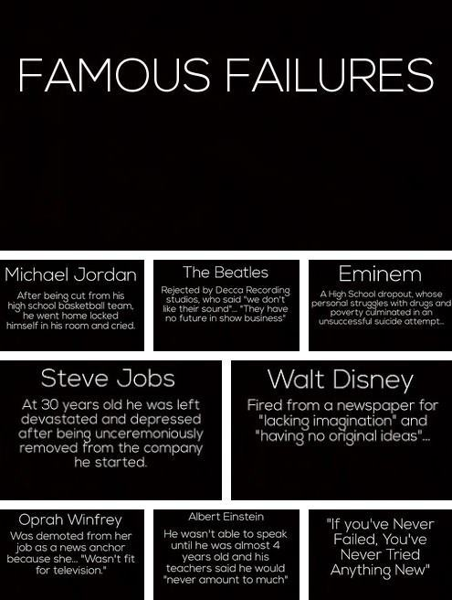 "pamdlover12:  very inspirational.  ""If you've never failed, you've never tried anything new.""  I hope to add my name to this by re-legalizing a plant that is high in omega-3 fatty acids, can be used to make plastic, paper, & textiles, is a source of renewable energy, has medicinal benefits, and lastly from the Drug Enforcement Agency, has been responsible for NO reported deaths from overdose. But for some reason, it will bring a deathstorm of militarized weaponry into your home for possessing it. Why is that?"