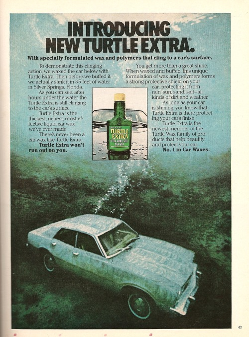 Turtle Wax. Ad from Playboy, July 1978.
