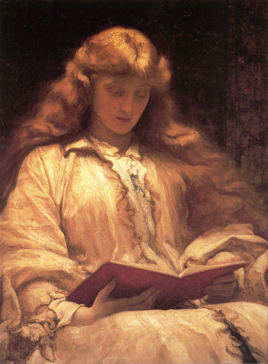 "The Maid with the Yellow Hair (c.1895). Lord Frederic Leighton (English, Academic, 1830-1896). Leighton was a painter and sculptor. His works depicted historical, biblical and classical subject matter. ""…I would ask [young artists] to believe that the gathered experience of past ages is a precious heritage and not an irksome load; and that nothing will fortify them better for the future, and free development, than the reverent and loving study of the past."" — Leighton, 1893."