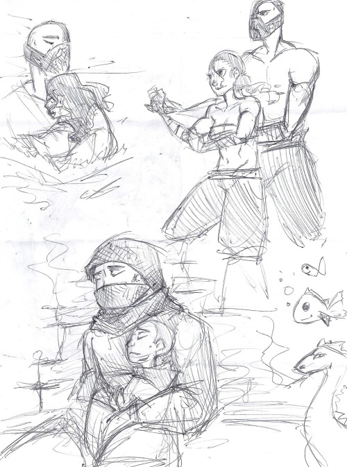 rawrrawrraygor:  They're not terribly good but I drew a whole page of Bane/Talia. Stop letting me work at a movie theater, I keep sneaking in to see the same 5 minutes of Batman OVER and OVER again. Bane crying though~ T^T