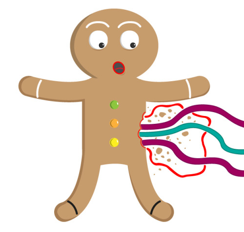 projectdaily:  Day 524 - Gingerbread Man Imagine if you woke up and someone had taken a bite out of you! Don't worry the blood and huts are only icing. NOTES: Made in Adobe Illustrator. Follow | My website | Twitter | Random Character   wow this makes me think that christmas is almost here the year has gone by so fast
