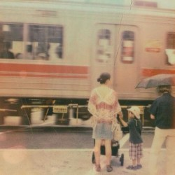 Pause. Shot on #polaroid sx-70, #impossibleproject #train #travel #tokyo #japan (Taken with Instagram)