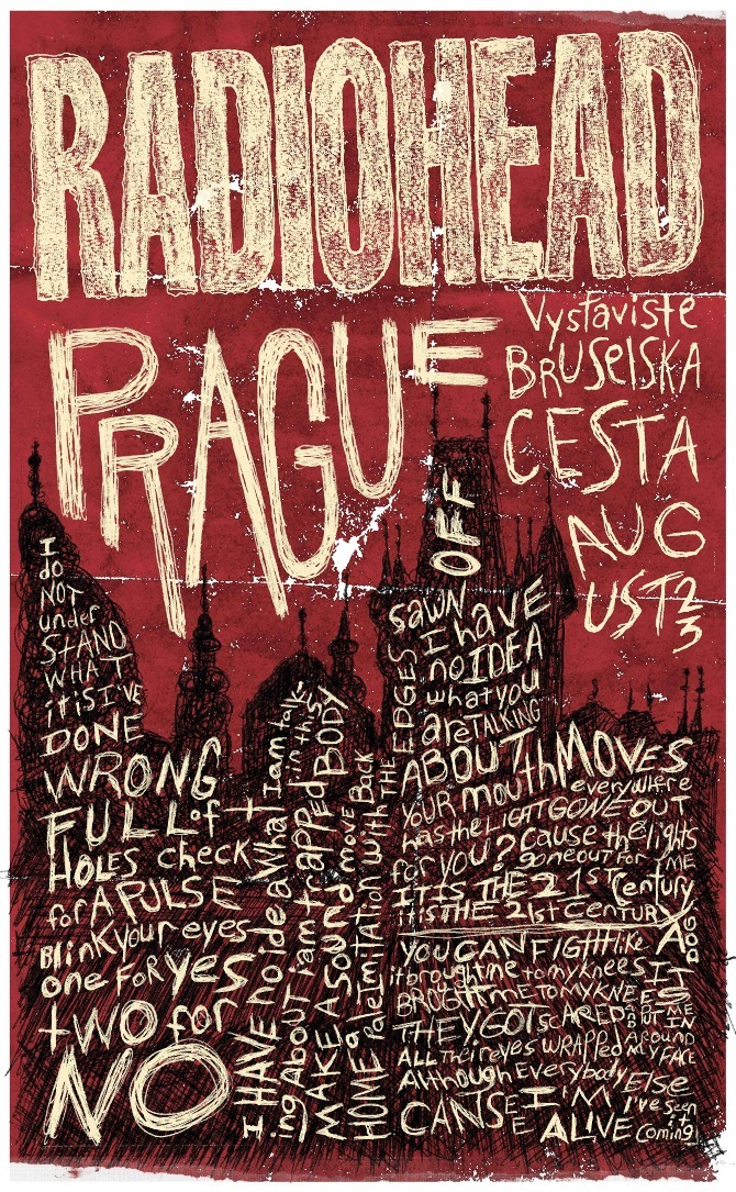 marlenedoll:  Bruce Young | Radiohead Gig Poster  How random…this was designed by my typography 3 teacher…the original is massive…and done in ballpoint pen.