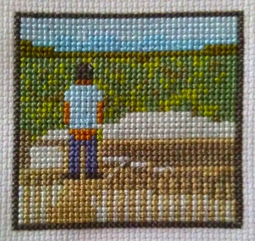 knittedchrislilley:  Cross-stitching Chris Lilley's Instagram Photos 1. 'Byron Bay Bum' Original photo