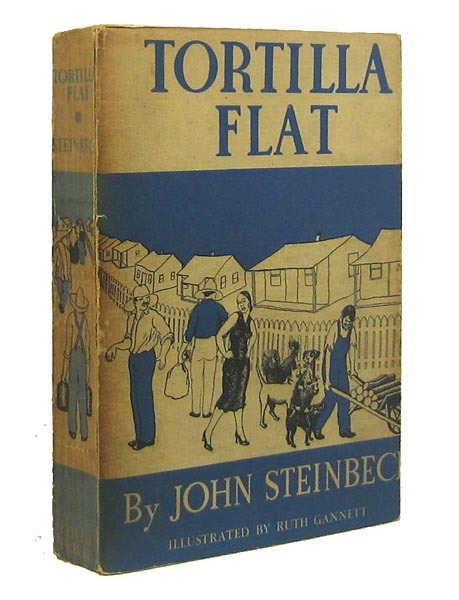 "books0977:  Tortilla Flat. John Steinbeck. Cover artist Ruth Gannett. Publisher Covici-Friede, 1935. First edition. … ""Ah, the prayers of the millions, how they must fight and destroy each other on their way to the throne of God."" ― John Steinbeck, Tortilla Flat"