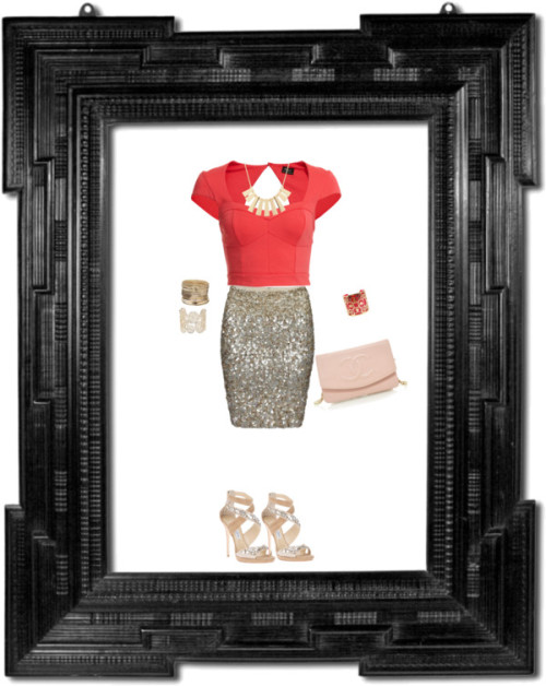 Framed by kellburhanudin featuring fitted skirtsBardot cap sleeve shirt, $53 / AllSaints fitted skirt / Jimmy Choo stiletto high heels / Chanel pink bag / Yellow gold necklace, $16 / Golden jewelry, $18 / Cuff jewelry / Isharya cuff jewelry