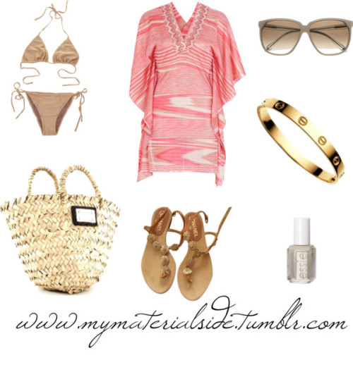 Ibiza by sheenatschang featuring a gold swimwearMissoni kaftan top / Clube Bossa gold swimwear, $190 / Chanel  shoes, $620 / Dolce&Gabbana straw handbag / Victoria Beckham eyewear