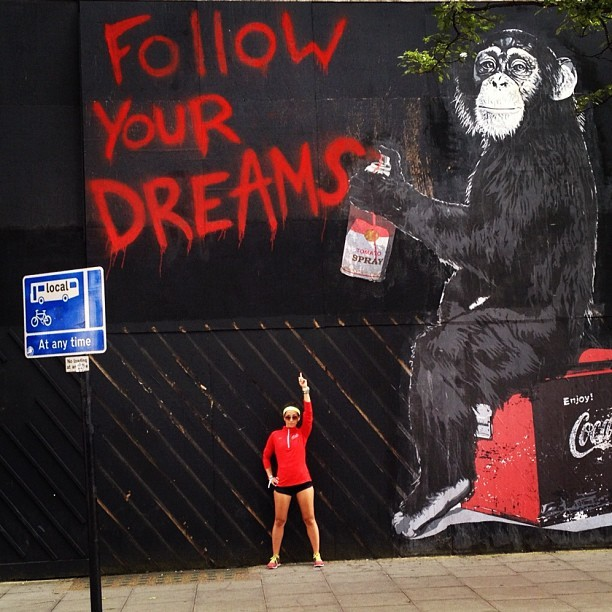 Follow your dreams. Stay curious. Stay hungry. #streetart #running #motivation #nike  (Taken with Instagram at London )