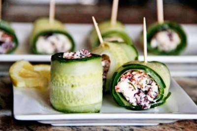 Cucumber feta rolls, great idea! Recipe