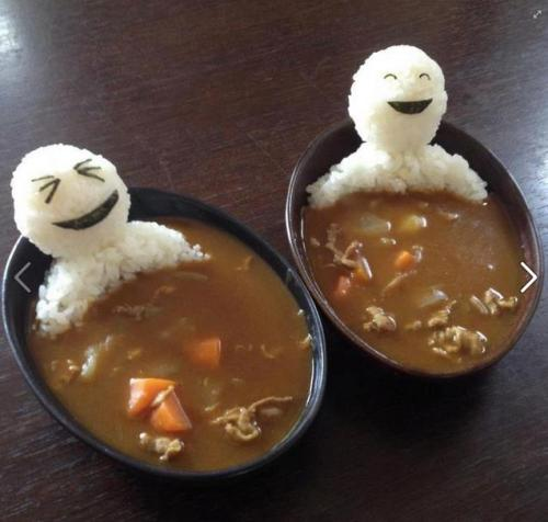edible men in curry soup! Teru Teru Bozu.
