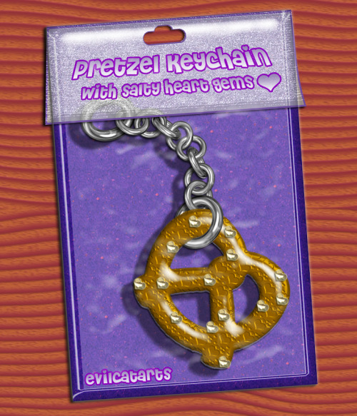 Pretzel Keychain with Salty Heart Gems