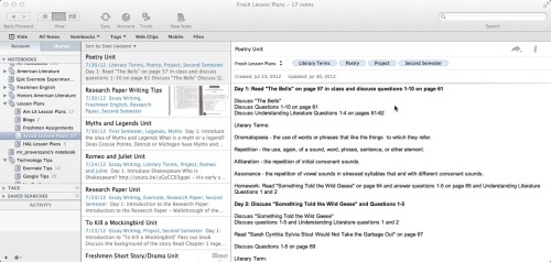 Here is a shot of my desktop version of Evernote. I have created lesson plan notebooks for each class I'm teaching. Within those notebooks, I've created notes for the individual units I have created for the school year. For each unit, I do not place dates, because I want the flexibility to move units around as I need to.  Click through for more info on how to setup Evernote for lesson planning. (via The Nerdy Teacher: Using @Evernoteschools for Lesson Planning #EdChat)
