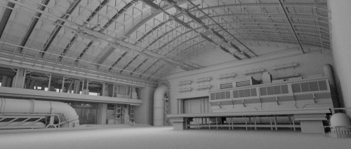 A Hangar I modeled in 1.5 hours for the upcoming R´ha Movie (Ambient Occlusion fast testrender -> noisy)