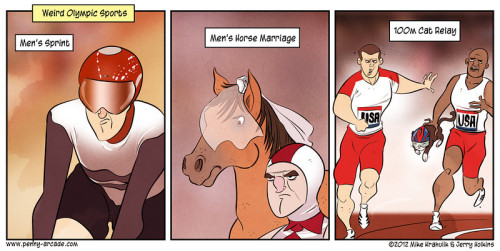(via Penny Arcade - Games Of Storied Lineage) I hear the 100m cat relay competition was fierce this year.  No wonder, I mean, look how he was holding that cat!