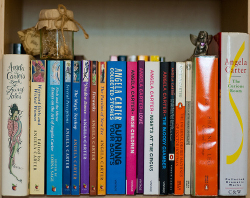 Image: Book shelf showing book by Angel Carter.