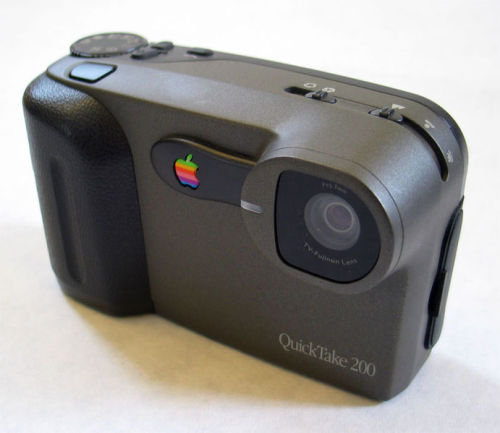 The Apple Camera: Apple Quicktake 200 Apple should come out with a camera you say? Well they have. For those of you that don't remember, here's the Quicktake 200  The Apple QuickTake (codenamed Venus, Mars, Neptune) is one of the first consumer digital camera lines.[1] It was launched in 1994 by Apple Computer and was marketed for three years before being discontinued in 1997. Three models of the product were built including the 100 and 150, both built by Kodak; and the 200, built by Fujifilm. The QuickTake cameras had a resolution of 640 x 480 pixels maximum (0.3 Mpx). The 100 and 200 models are only officially compatible with the Apple Macintosh, while the 150 model is compatible with both the Apple Macintosh and Microsoft Windows. Because the QuickTake 200 is almost identical to the Fuji DS-7 or to Samsung's Kenox SSC-350N, Fuji's software for that camera can be used to gain Windows compatibility for the QuickTake 200. Some other software replacements also exist. Time Magazine profiled QuickTake as 'the first consumer digital camera' and ranked it among its '100 greatest and most influential gadgets from 1923 to the present' list.[2] - Wikipedia