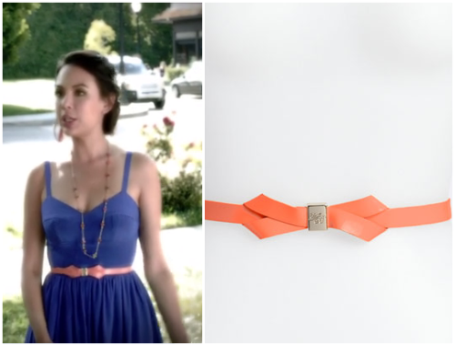 This is the Orange Bow Belt that Mona wears with her Blue Dress in Episode 8 of this season of Pretty Little Liars (I'm still trying to find her dress!)You can buy her belt HERE for $70