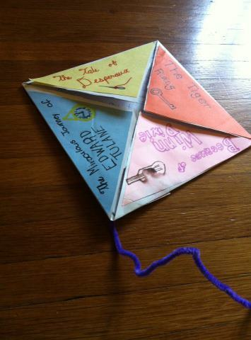 from-student-to-teacher:  What a great classroom activity … kite-letters! Each letter is in the shape of a kite; each corner of the kite is inscribed with the name of a book. And when you lift the flap, you reveal the student's favorite quote(s) from the book.  Neat idea.