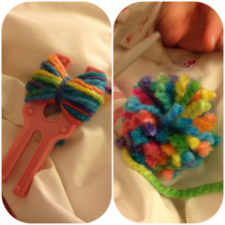 First night on our road trip. Sat in bed making rainbow pom-poms. Life is good!