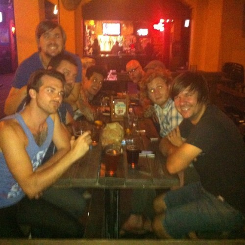 "mattythiessen:  From William Beckett's photo a day tour diary on Buzznet:  ""Lasers for eyes! Quality time with Relient K and House of Heroes."""