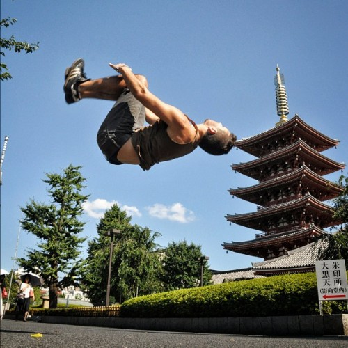 How do you say backflip in Japanese?  Sensō-ji Temple in Tokyo, Japan.  (Taken with Instagram at 金龍山 浅草寺 (Sensou-ji Temple))