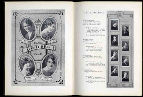 Dorchester High School for Girls Yearbook page, 1928, ca. 1852-1992, Dorchester High School records ca. (Collection # 0420.027)  This work is free of known copyright restrictions.  Please attribute to City of Boston Archives. For more images from Boston Public Schools, click here