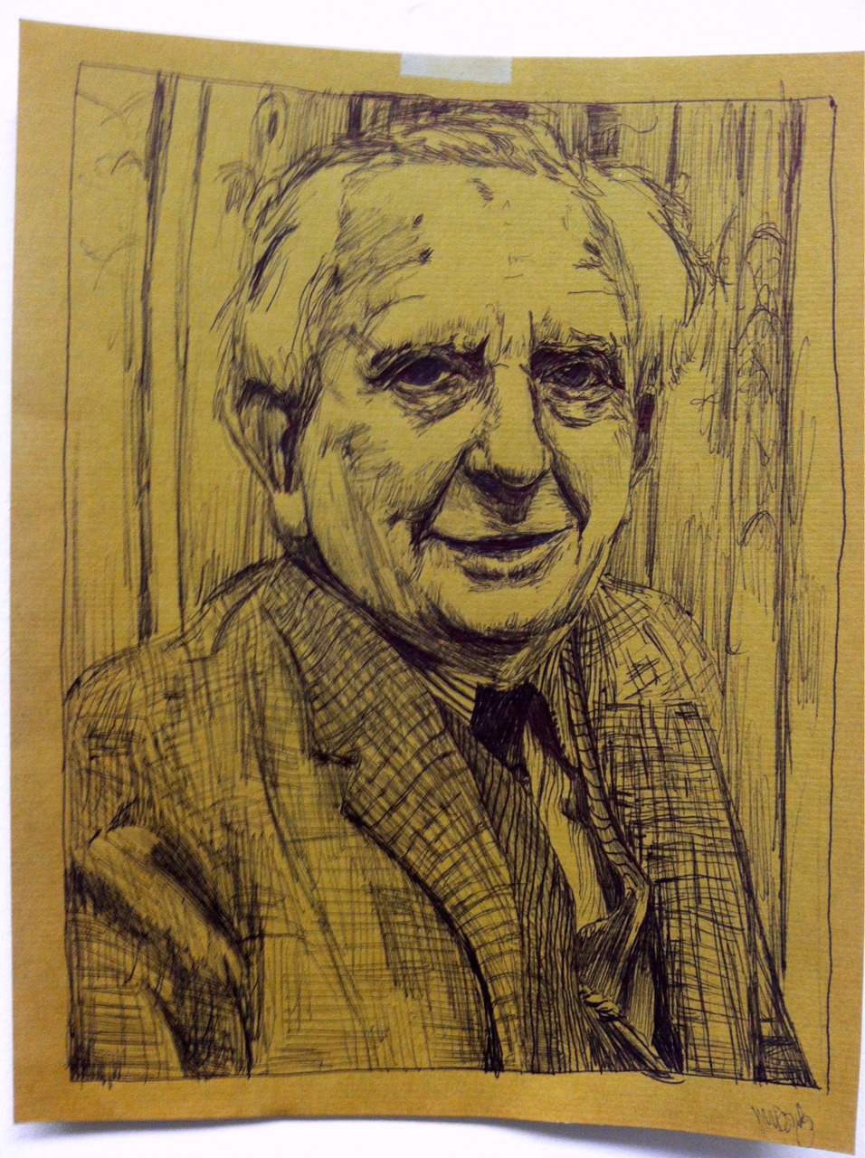 Sketch of Hobbit author J.R.R. Tolkien.