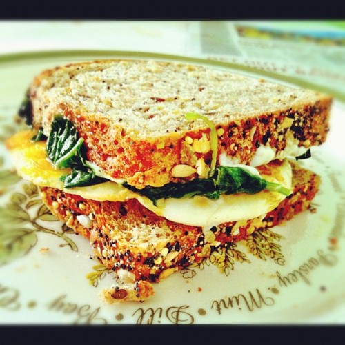 Sautéed spinach and egg sandwich made by yours truly - #photography #foodporn #breakfast #yummy #sandwich #getinmybelly #iphone #iphoneonly #iphoneography #phoneography #instagood #instafood #instagood #instagram #igdaily #ignation #ig  (Taken with Instagram)