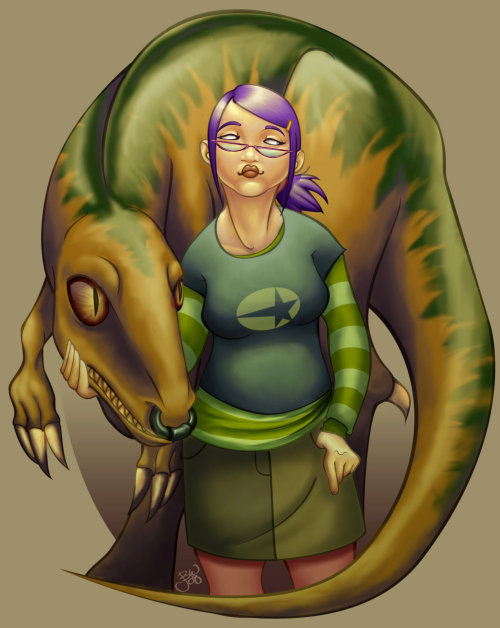"Gert and Old Lace from Runaways by Jackie B. aka DeFemme (DeviantArt) ""Gertrude Yorkes (aka Arsenic) from Brian K. Vaughan's Runaways is one of the BEST superheroic female characters. Gert looks like a lot of comic book readers and she's got a no nonsense, anti-establishment personality that speaks to a lot of the key demographic of the series. Also, she has a psychic link with a DINOSAUR!"" - Juliette Capra Submitted by Juliette Capra"