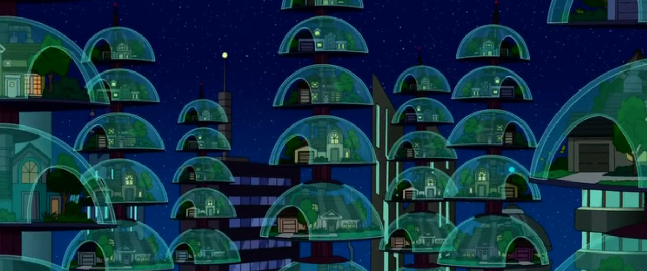 screenshotsau:  I hope Futurama got this right and we will all be living like this soon  This photo reminds us of two things that will be at Bumbershoot: the Writers of Futurama and Skyward!