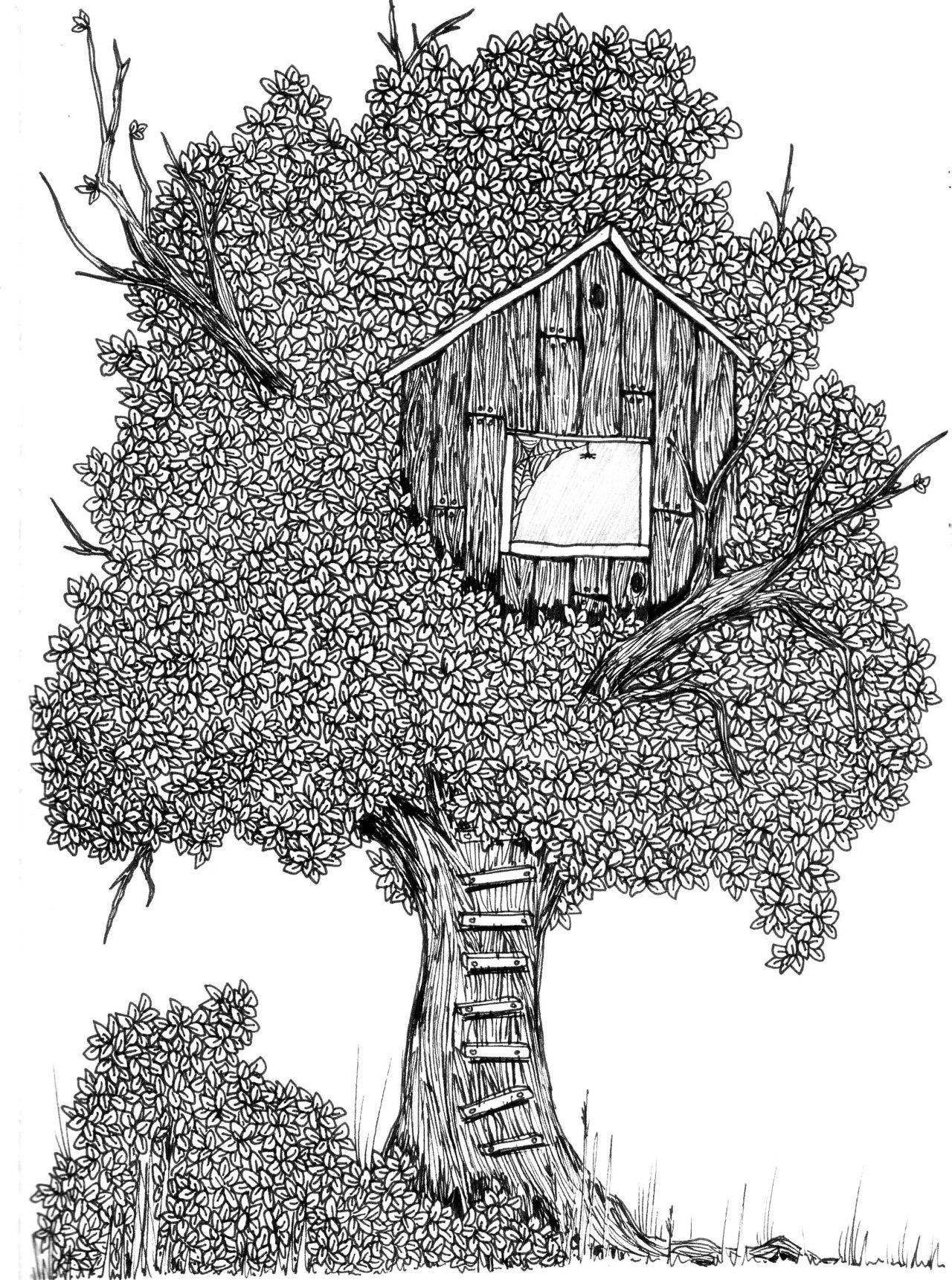 "hitrecord:  ""Treehouse"" Illustration by twistedbutterfly"