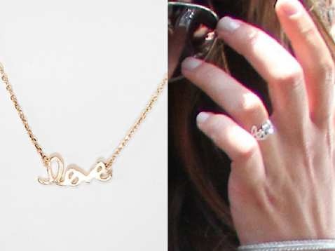 Lea always seems to be wearing this 'Love' Ring these days. I've found a few rings that look like hers, but I don't think they're quite right. Here's a necklace that I think, looks a little like it and it looks like one Rachel might wear. Love You Always Necklace $12.00