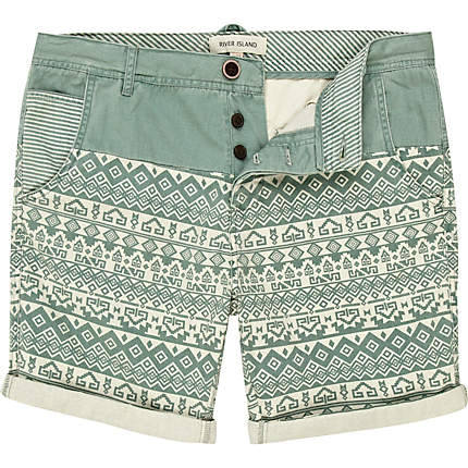 GREEN AZTEC PRINT SHORTS