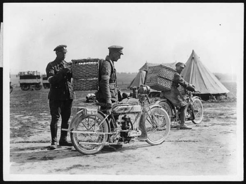 I like motorcycles & I prefer these old war cycles. If I had a motorcycle with too much power I'd be dead in less than a week. How the birds are sent up the line by National Library of Scotland on Flickr.