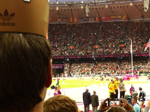 a BIGkid watching Usain Bolt's medal ceremony!