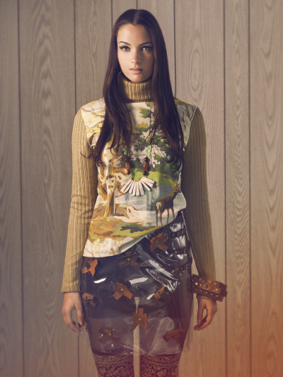 iheartnorwegianwood:  One of my favorite outfits from the FW12 Norwegian Wood collection….who can say no to a plastic skirt?! Oh wait…that's only the way MY brain works, most people would likely cringe at the thought… Photography by: Manon Parent Model: Claudia at Dulcedo.ca