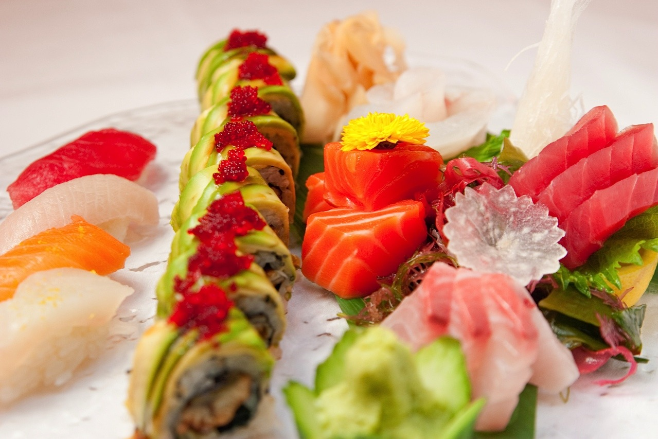 The perfect combo: Eel Avocado Roll flanked by an assortment of sashimi (bluefin, yellowtail, king salmon, fluke, artic char and snapper). A perfect shared order for two.