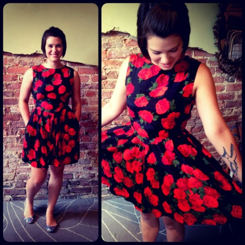Miss Chelsea trying on the Pretty Dress by Mi Scusi Handmade!