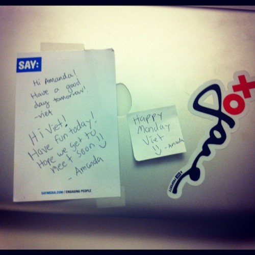 How cute are our interns? They leave notes for each other on the laptop they share on alternating days. (Taken with Instagram)