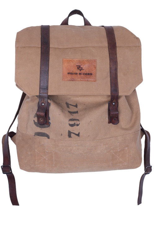 atelierdelarmee:  Atelier de l'Armée - bag069 - handmade backpack out of a 1962 royal dutch navy duffel bag - for sale at atelierdelarmee.com