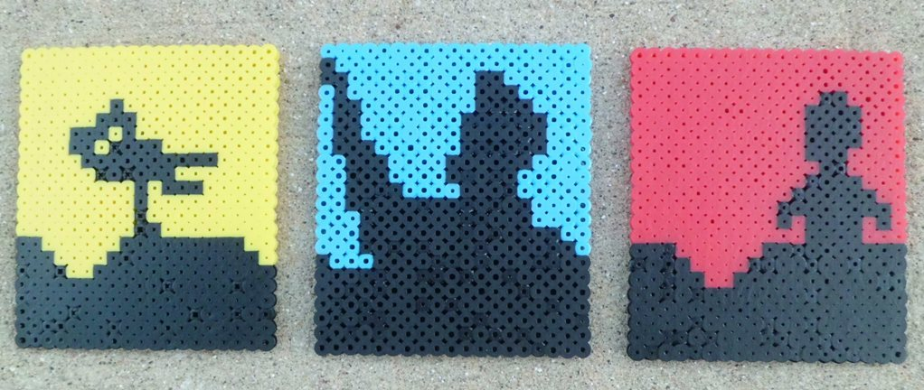 My bead sprites:  Crow T. Robot, Joel Robinson, & Tom Servo (Mystery Science Theater 3000).