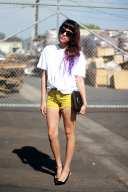 yellow side stud shorts and purple dip dyed ombre hair
