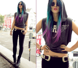 pony hair dip dye  lookbookdotnu:  WOULD YOU FLY AWAY WITH ME & JUST FORGET THIS F*CKIN WORLD? (by Masha Sedgwick)