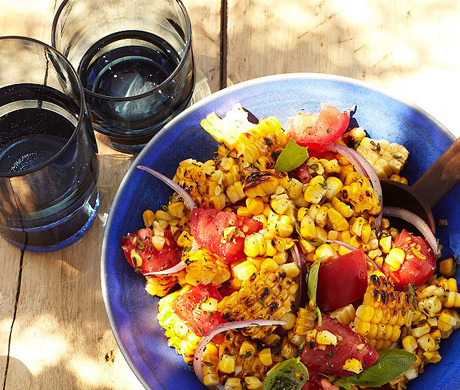 A little char never hurt: Charred Corn Salad with Basil and Tomatoes (Bon Appétit, July 2012)