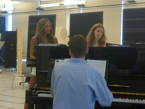 "Deborah Cox and Teal Wicks rehearsing for Jekyll & Hyde! This pic was taken by Dr. Jekyll/Mr. Hyde himself: Constantine Maroulis, who in addition, wrote as that ""Deborah Cox & Teal Wicks are f***ing Goddesses!"" Wow. Strong words there, Constantine. But very true. :)"