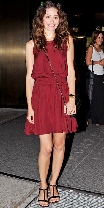 inherglam:  Emmy Rossum hit the town in an aubergine dress, chainstrap crossbody and T-strap sandals. Hit or miss?