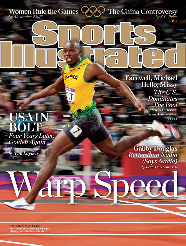 Usain Bolt graces the cover of this week's Sports Illustrated after capturing his second straight gold medal in the 100 meters. (Simon Bruty/SI)